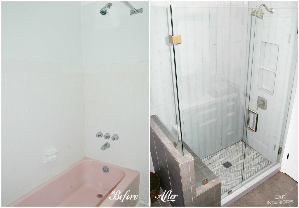 Lovely CAD INTERIORS main bathroom renovation conversion of tub to shower stall