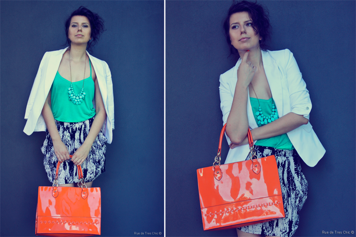 statement orange large tote