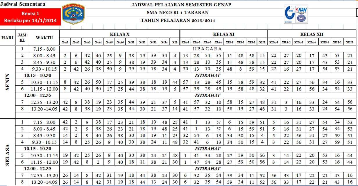 Jadwal Mapel Sman 1 Tarakan Revisi 1 Berlaku Per 13 1 2014 E Basindo