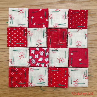 "3/4 "" Red Charm Squares, with French General Fabric, Moda  Nearly Insane Quilt"