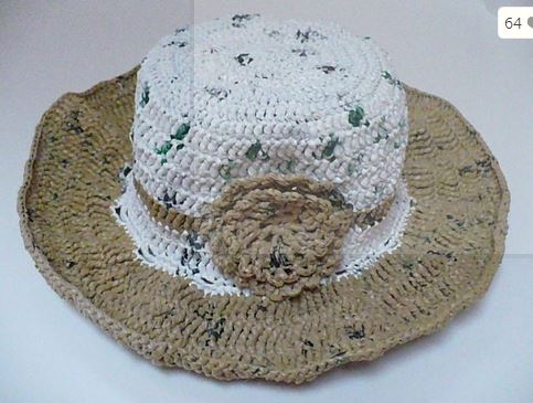 Hat made from plarn