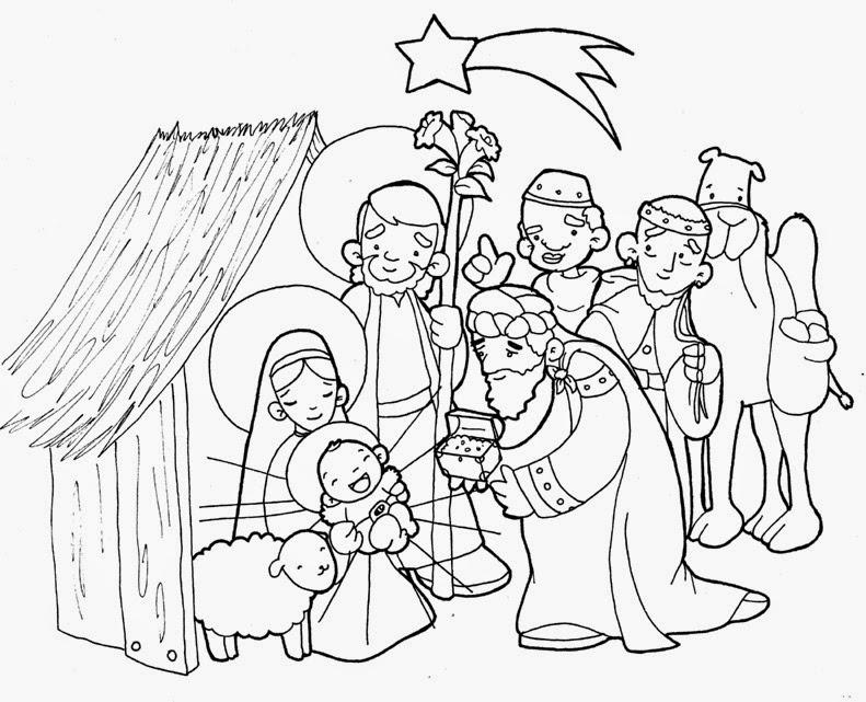 PARA COLOREAR: Nacimiento de Jesús para colorear