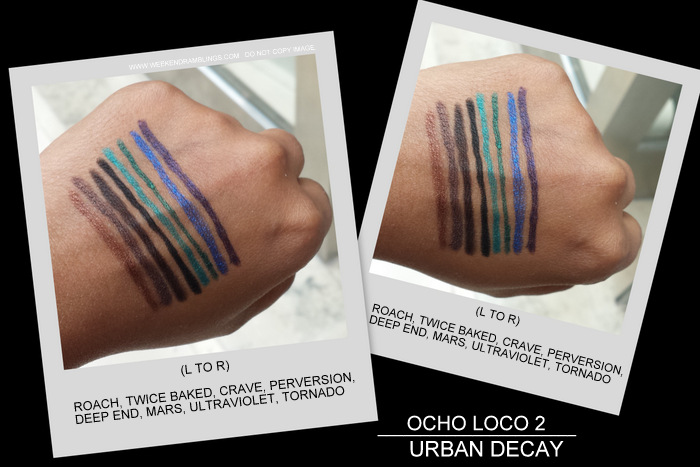 Urban Decay 24/7 Eyeliner Pencils Sets - Ocho Loco 2 Swatches Roach Twice Baked Crave Perversion Deep End Mars Ultraviolet Tornado Indian darker skin makeup beauty blog