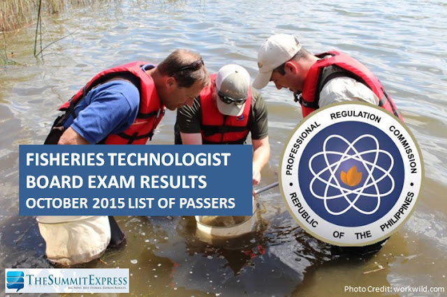 October 2015 Fisheries Technologist board exam results