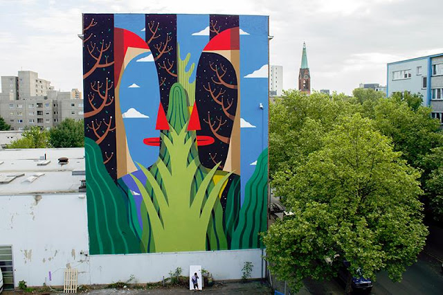 Agostino Iacurci made a quick stop by the city of Berlin in Germany where he had the opportunity to create a large artwork in the district of Moritzplatz.
