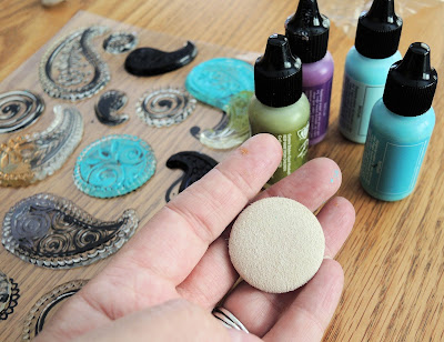 Stamps, Vintaj patinas and a plain button.