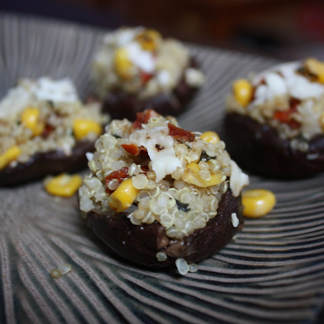 Summer Quinoa Stuffed Mushrooms - Get Off Your Tush and Cook!