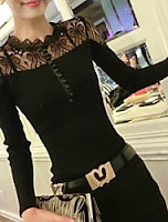 ladies black designer sweater with lace accented