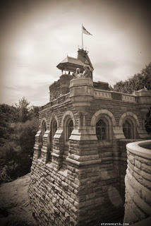 Bride and Groom on Belvedere Castle - Sepia Toned