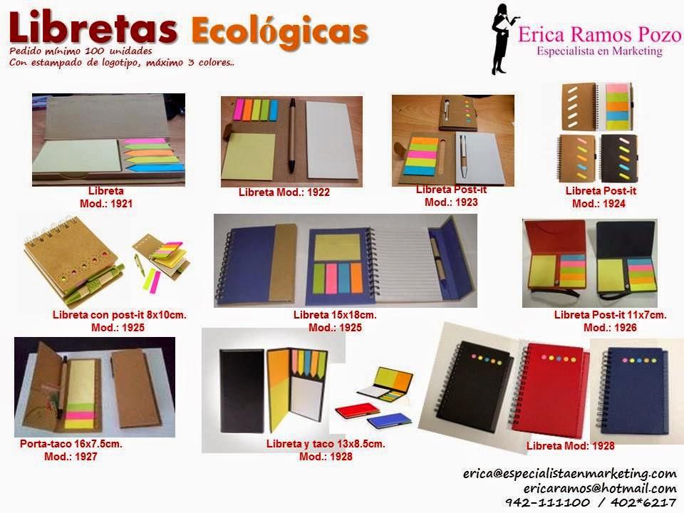 lapiceros ecologicos, post-it, libretas, agendas, cuadernos