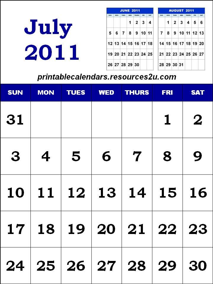 printable calendars july. Printable Calendar 2011