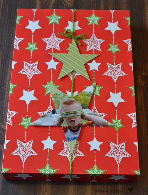 gift wrap with pictures, picture for gift tag, picture of birthday boy