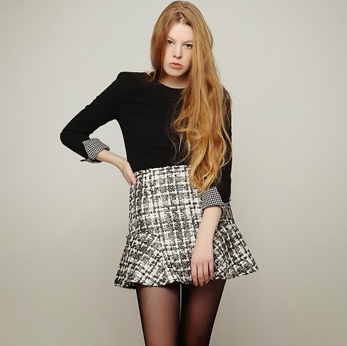 Twinkling Tweed Peplum Skirt