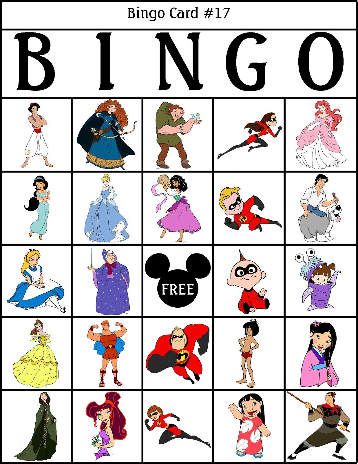 photo relating to Disney Bingo Printable titled RobbyGurls Creations: Disney Bingo