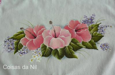 """""""pintura em tecido flor hibisco"""""""
