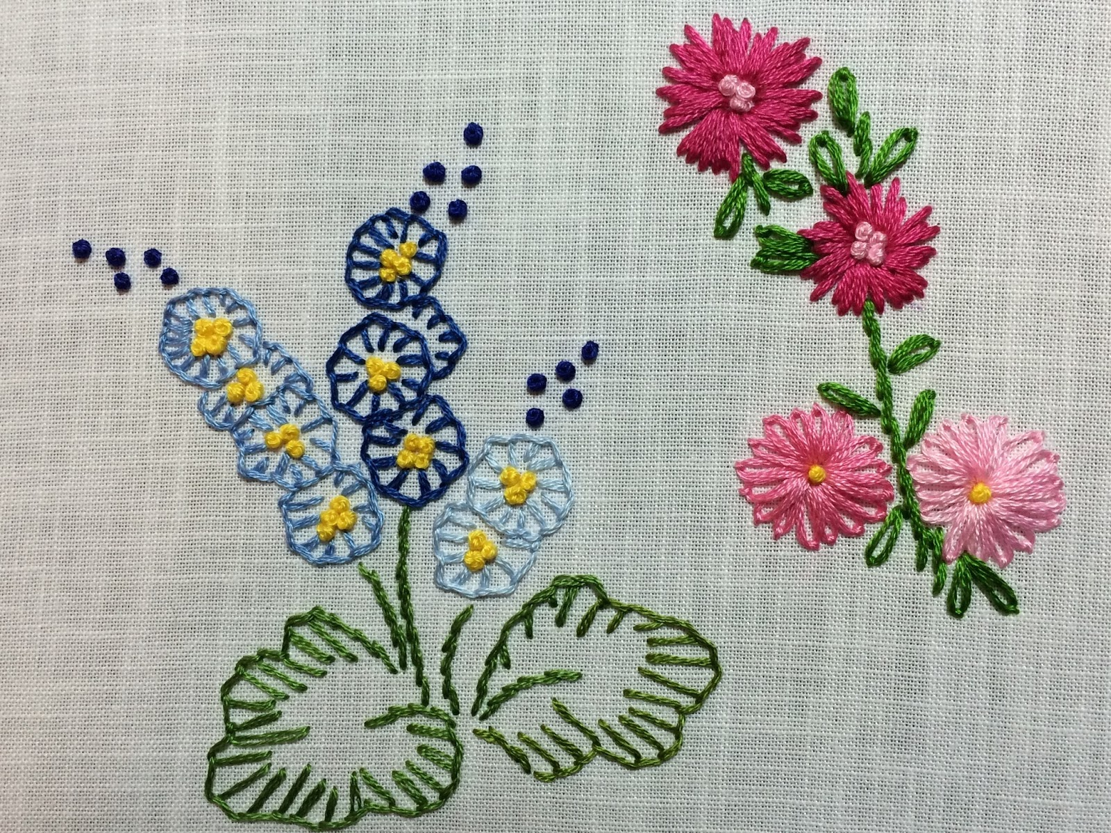 embroidered flower sampler