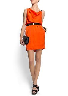 mango turuncu elbise