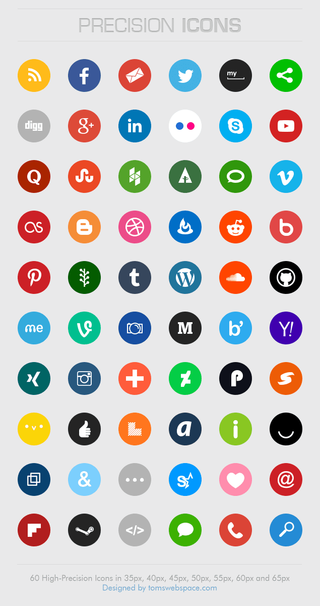 60 Rounded Social Media Icons