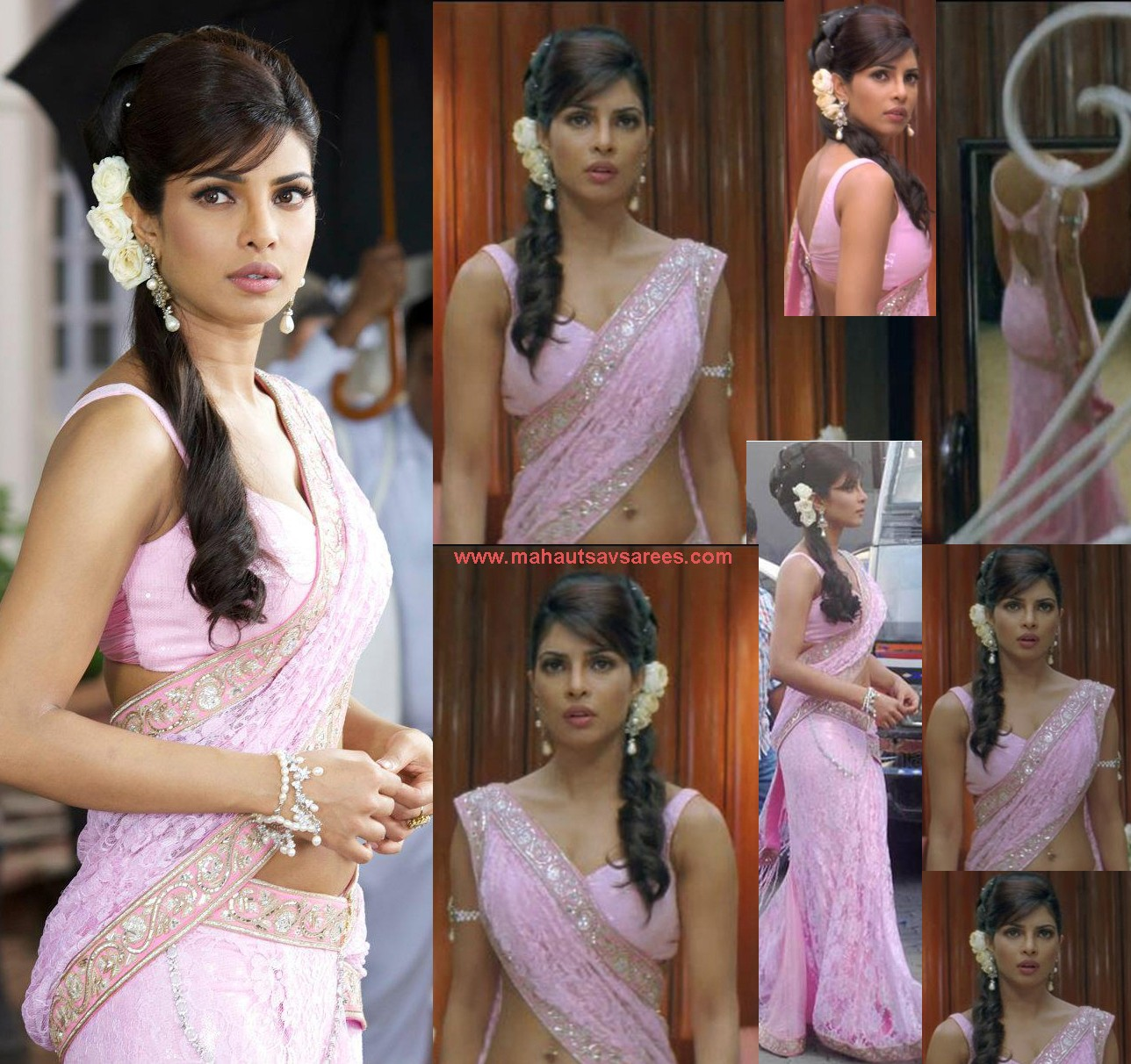 Priyanka Chopra in pink saree, Priyanka Chopra in Saree in Teri Meri Kahani Movie