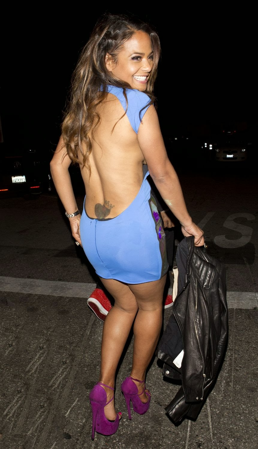 Christina Milian Panty Showing While She Outside 1 Oak Nightclub In