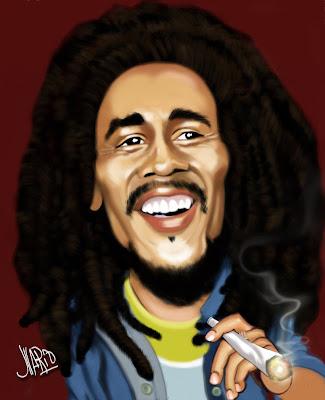 Sejarah Musik Reggae karikatur bob marley
