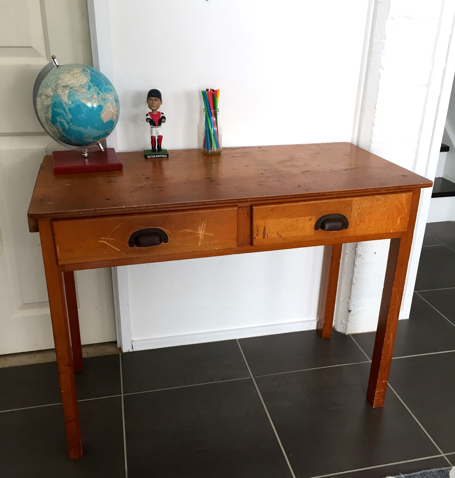 I filled any holes with wood filler and wiped the desk down checking for  any other issues. A light sand of the whole desk and a heavy sand for the  top and ... - Vintage Workroom: Industrial Desk