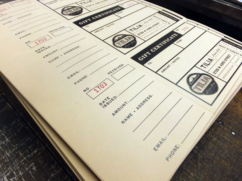 Wayzata Press 952 473 1000 Letterpress Restaurant Gift Certificates