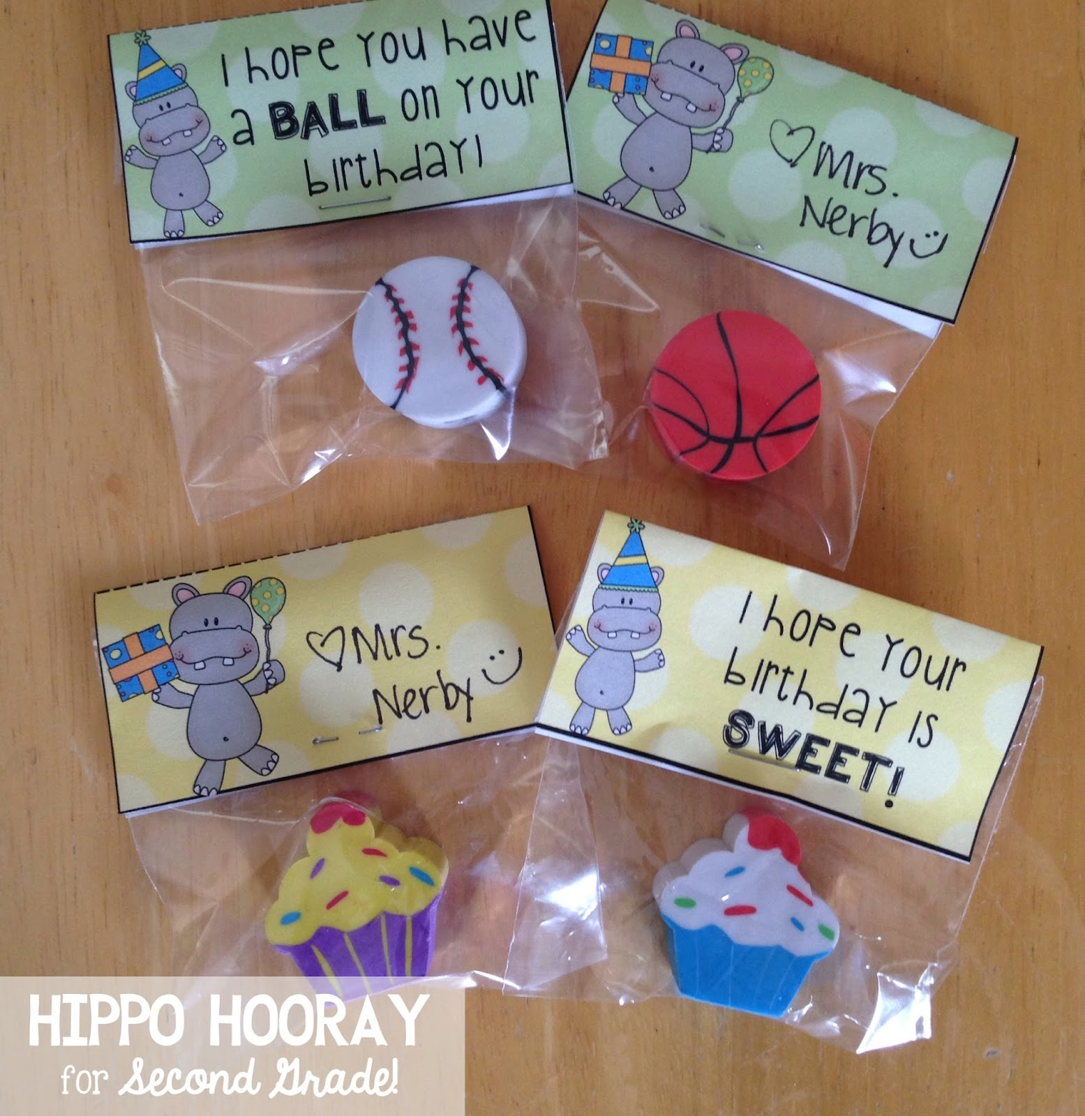 Classroom Birthday Ideas ~ Monday made it student birthday gifts hippo hooray for