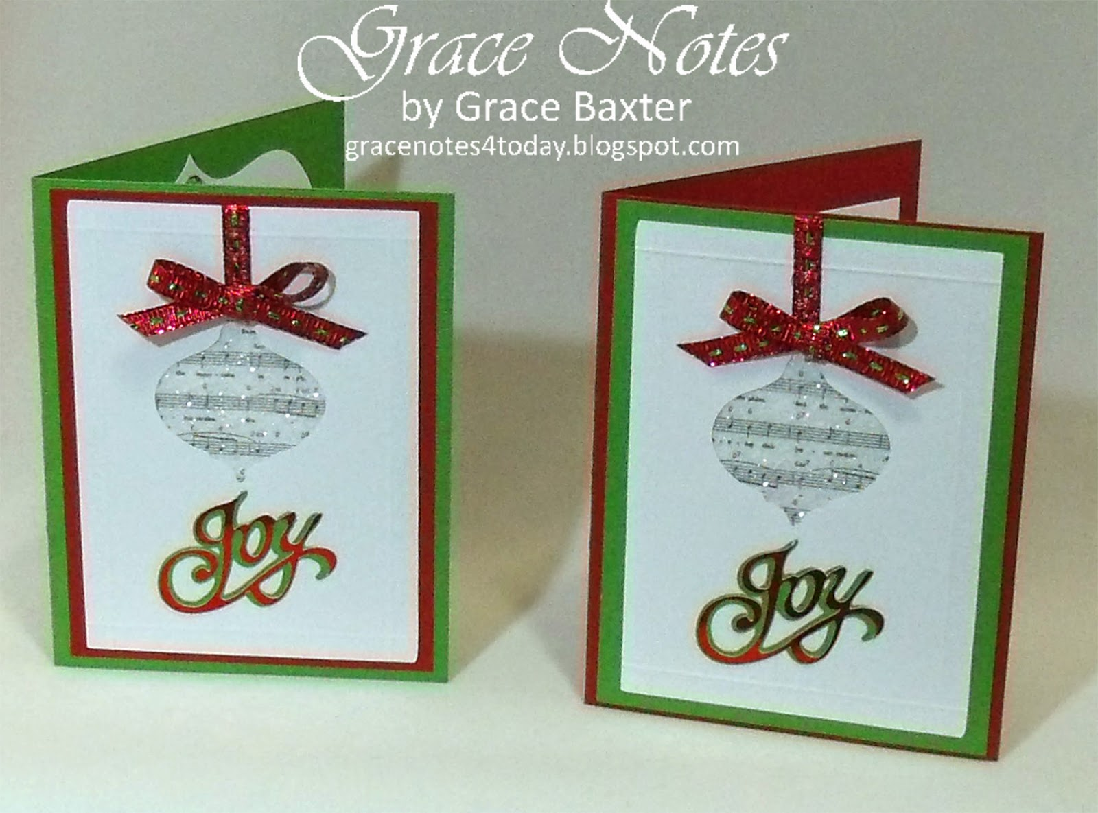 musical ornament Christmas cards, by Grace Baxter