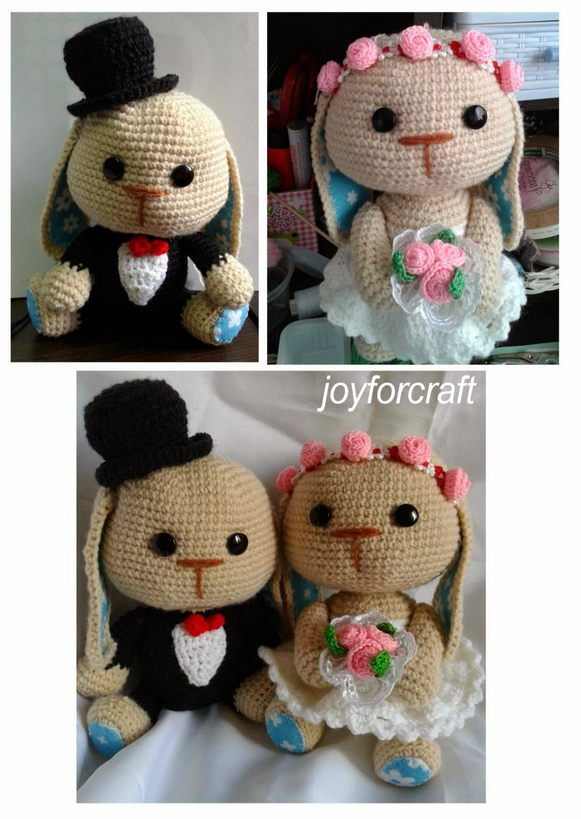 Crochet amigurumi wedding bunny gift set car decoration adorable couple pattern