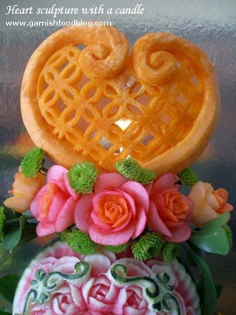weding fruit carving display