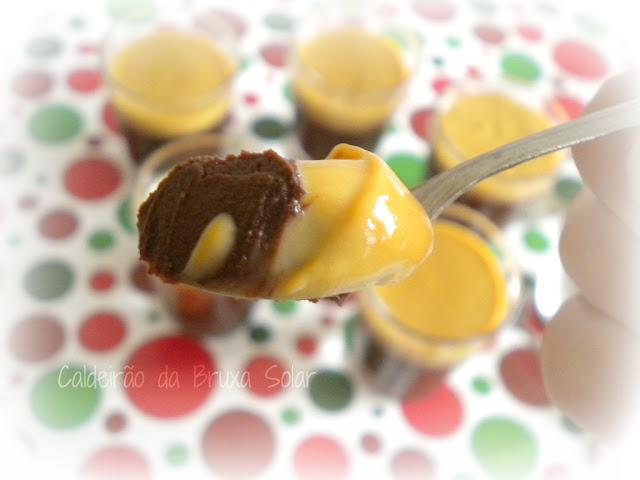 Tacinhas de creme de chocolate trufado e doce de leite