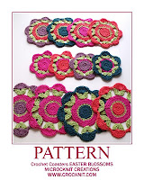 crochet patterns, how to crochet, coasters, blossoms, flowers, placemats,
