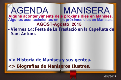 AGENDA MANISERA, SEMANA 33 DE 2015