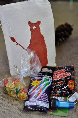 camping birthday, camping gift bag, camping door prize