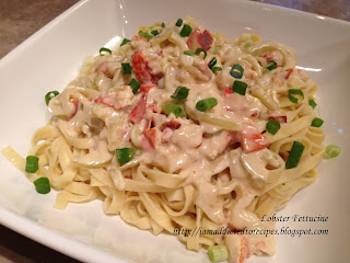 Valentine's treat! Rich, tasty lobster fettucine