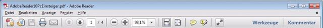 Standard-Werkzeugleiste Adobe Reader 10