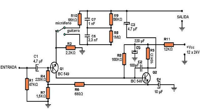 Circuito Guitarra Electrica : Circuito de preamplificador para guitarra o micrófono