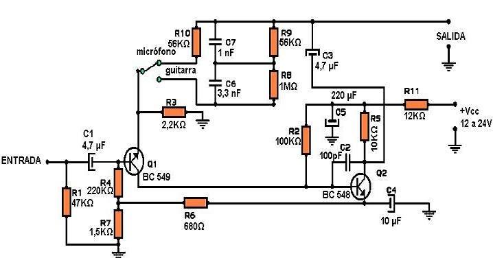 amplificadores de audio  preamplificador para guitarra o