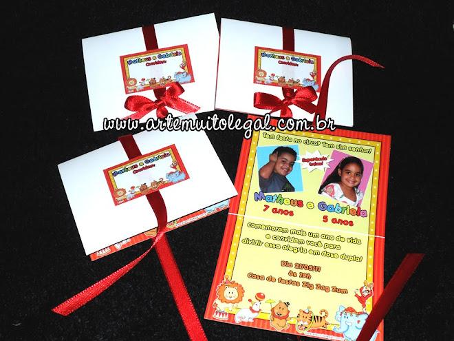 Convites infantis e lembrancinhas - Arte muito legal