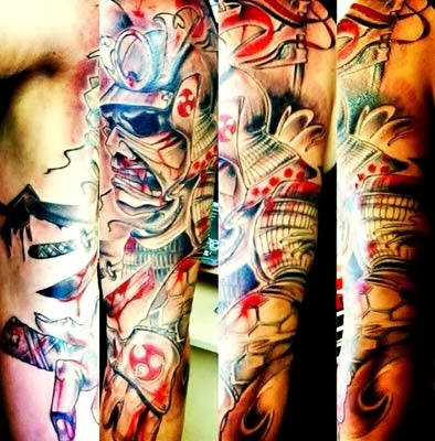 tatuagens de samurai no braço inteiro coloridas