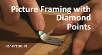 using Fletcher Push Mate to insert diamond points on a picture frame