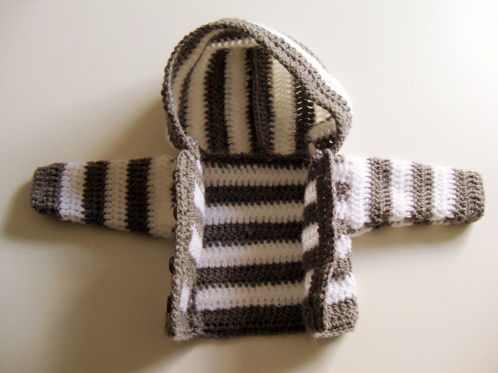Tutorial: simple crochet striped hooded baby jacket/ Einfache ...