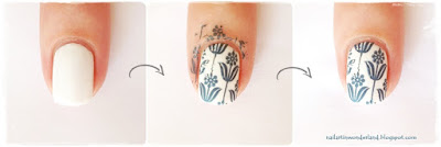 Mavi Beyaz Çini Desenli Baskı Nail Art / Blue and White China Pattern Stamping Nail Art