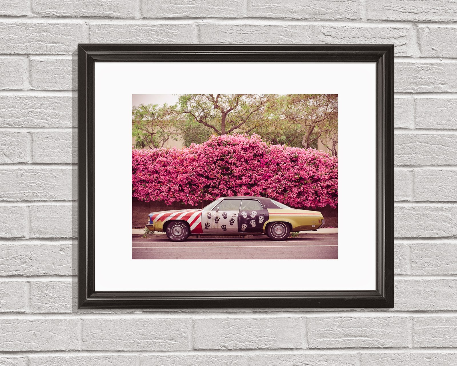 Vintage Muscle Car Photo, Americana Photography, American Flag Art Print, Retro California Wall Art
