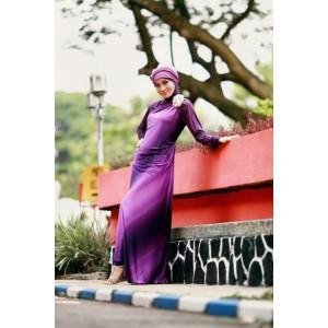 Jilbab modern model Busana Muslim Baju Muslim Wanita  Dress GREENDESIA violet dengan Manset dan Pasmina jilbab modern