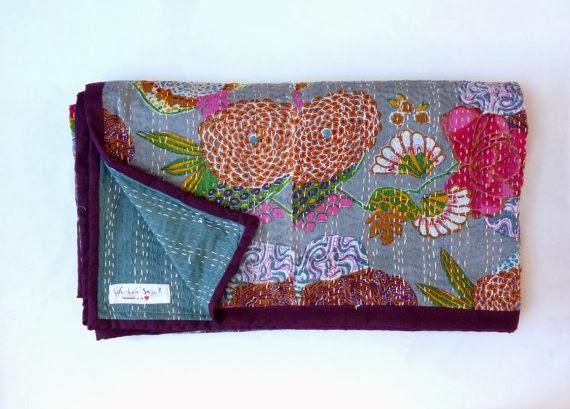 Handmade quilt rich colours