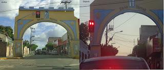 O semáforo posicionado originalmente e após a mudança.