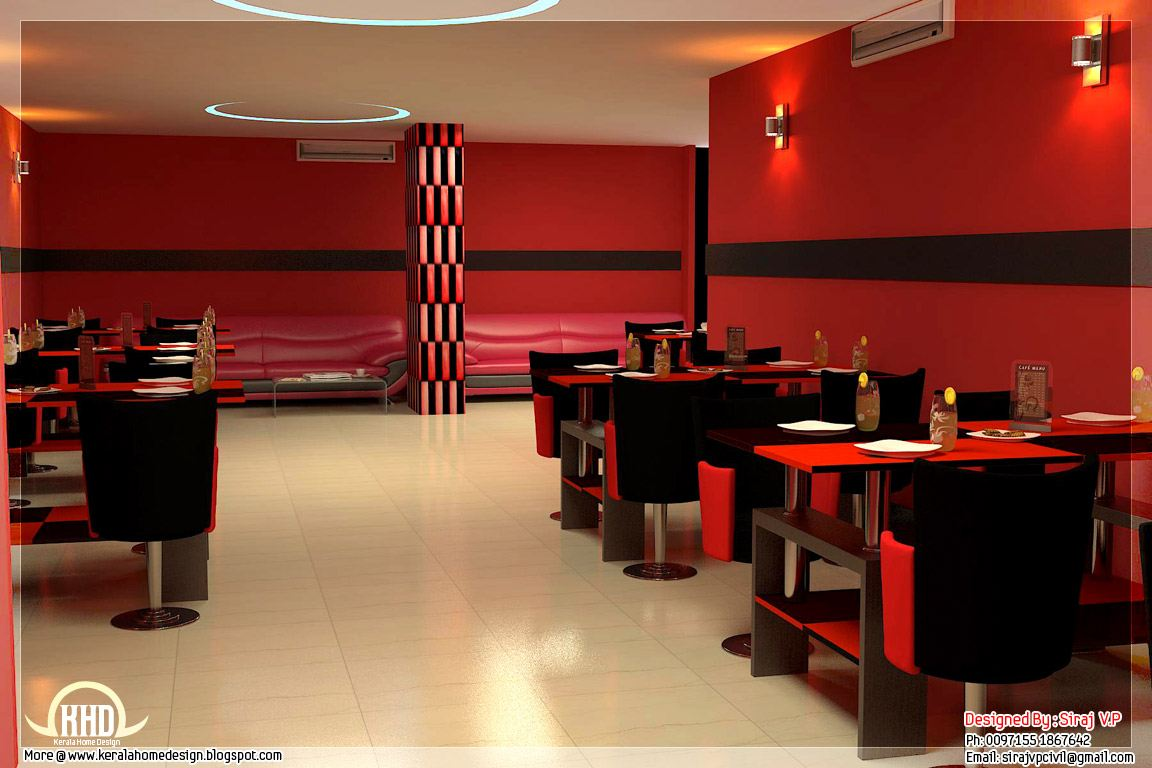 Red toned restaurant interior designs kerala home design for Interior decoration pictures of restaurant