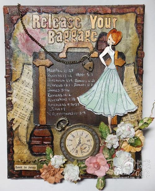 Baggage Mixed Media Canvas Created by Tonya A. Gibbs at Psychomomscrapbooks.blogspot.com